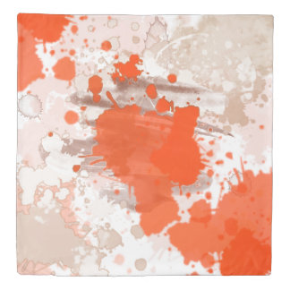 Orange Beige Pink Watercolor Abstract Pattern Duvet Cover