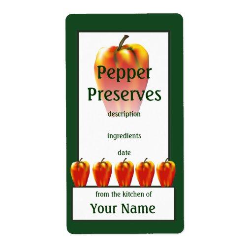Orange Bell Pepper Preserves Cook's Canning Label