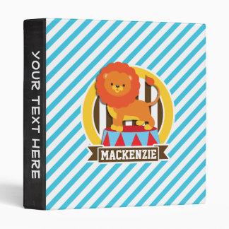 Orange Big Top Circus Lion; Blue & White Stripes Vinyl Binder