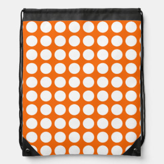 Orange & Big White Polka Dots Drawstring Backpack