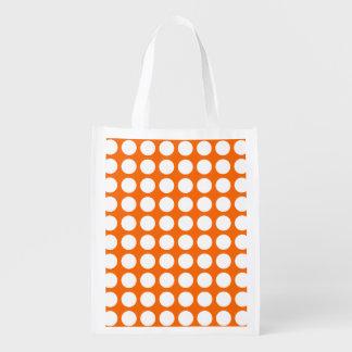 Orange & Big White Polka Dots Market Tote