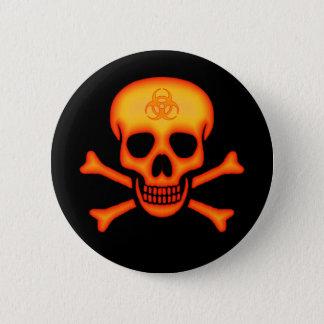 Orange Biohazard Skull Button