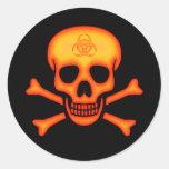 Orange Biohazard Skull Sticker