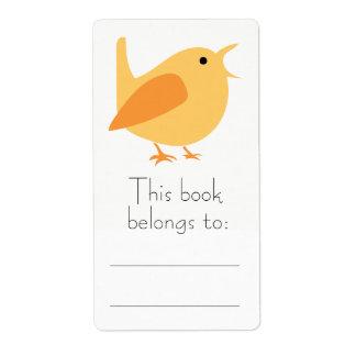 Orange Bird Bookplate Stickers