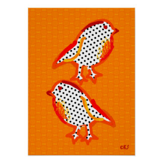 'orange birds' digital painting poster