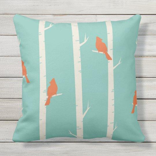 ORANGE BIRDS IN BIRCH TREES ON TEAL Throw Cushion
