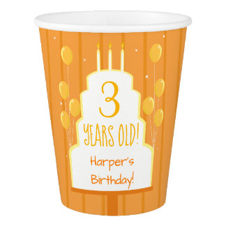 Orange Birthday Cake and Balloons   Paper Cup