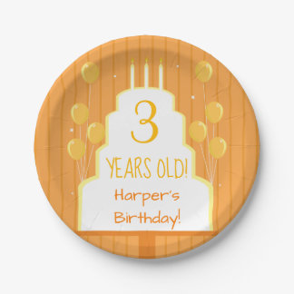 Orange Birthday Cake and Balloons | Paper Plate
