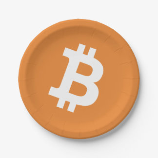 Orange Bitcoin logo money sign paper party plates