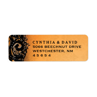 Orange & Blac Halloween Lace Wedding Address Label
