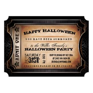 Orange & Black Admit One Halloween Party Ticket Card