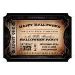 "Orange & Black Admit One Halloween Party Ticket 5"" X 7"" Invitation Card"