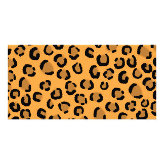 Orange, Black and Brown Leopard Print Pattern. Picture Card