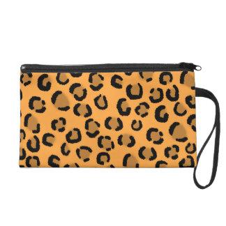 Orange, Black and Brown Leopard Print Pattern. Wristlet Purse