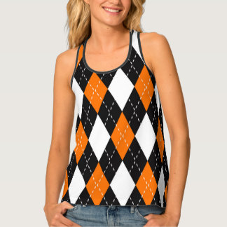 Orange black and white Argyle Pattern Tank Top