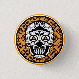 Orange Black and white damask sugar skull 1 Inch Round Button
