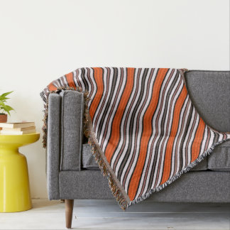 Orange, Black and White Diagonal Stripes Throw
