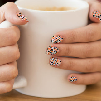 Orange, Black and White Lattice Pattern Minx Nail Art