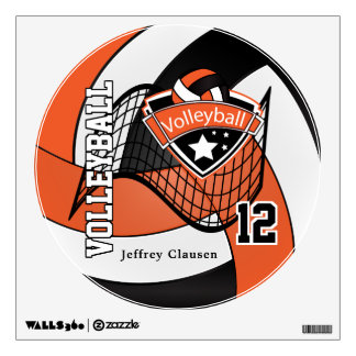 Orange, Black and White Personalize Volleyball Wall Sticker