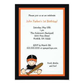 Orange & Black Baseball 1st Birthday Party Invite