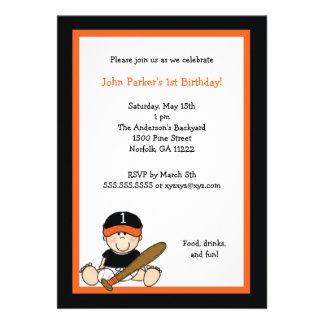 Orange & Black Baseball 1st Birthday Party Invite