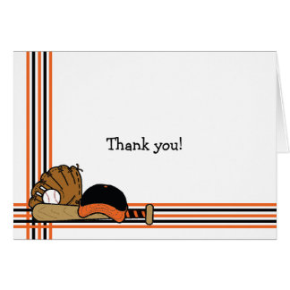 Orange & Black Baseball Thank You Note baby shower Card