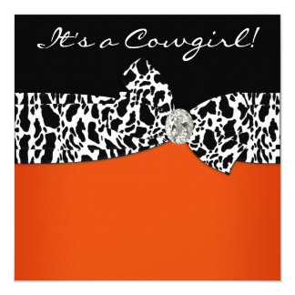 "Orange Black Cow Print Cowgirl Baby Shower 5.25"" Square Invitation Card"