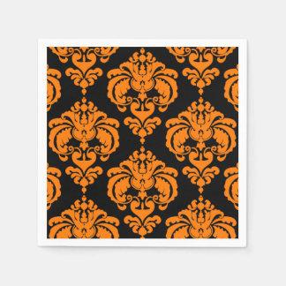 Orange & Black Damask Vintage Wedding Event Party Paper Napkin