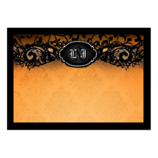 Orange Black Elegant Halloween BLANK Place Cards Large Business Card