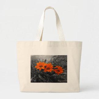 Orange & Black Flower Floral Photography Design Large Tote Bag