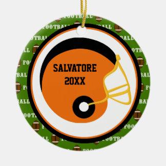 Orange & Black Football Helmet Christmas Ornament