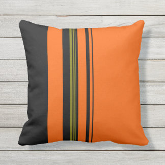 Orange Black Green Striped Pattern Throw Pillow