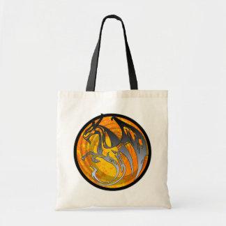 Orange black grunge wing dragon circle tote bag