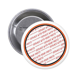 Orange & Black (Halloween Colors) Trimmed Template Pinback Buttons