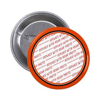 Orange & Black (Halloween Colours) Trimmed 2 Inch Round Button