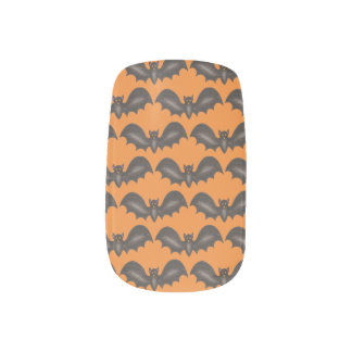 Orange Black Halloween Spooky Flying Bats Design Minx Nail Art