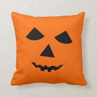 Orange Black Jack o Lantern Halloween Pumpkin Face Pillow