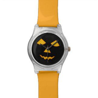 Orange Black Jack o Lantern Pumpkin Face Halloween Wristwatch