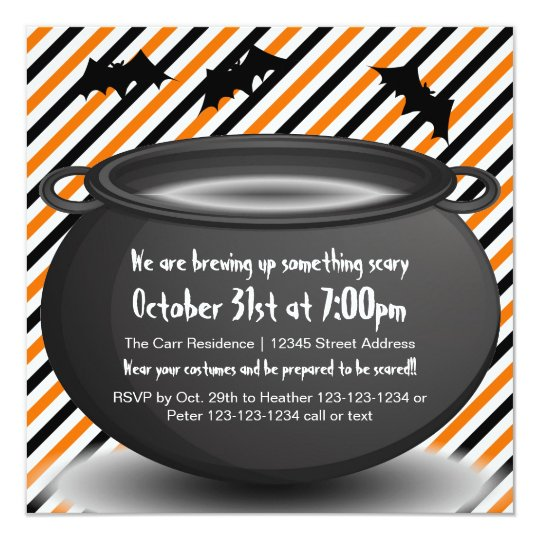 Orange/Black Kettle - Halloween Party Invitation