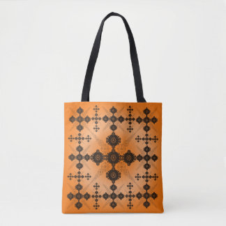 Orange Black Lacy Celtic Tote Bag