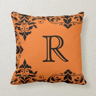 Orange & Black Monogram Damask Pillow
