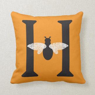 Orange Black Monogram 'H' Honey Bee Throw Pillow