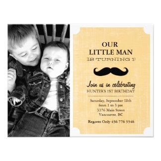 Orange/Black Mustache Photo First Birthday Invite