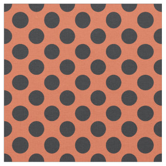 Orange & Black Polka Dot Fabric