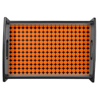 Orange black polka dot modern serving tray