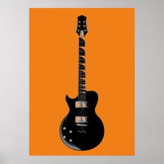 Orange Black Pop Art Electric Guitar Poster