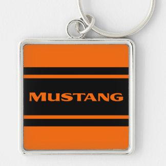 Orange Black Racing Stripe Mustang Keychain