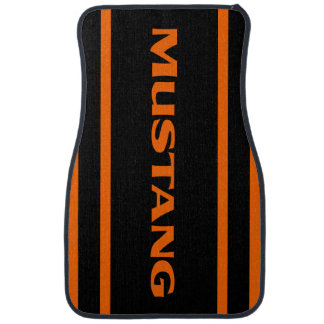 Orange Black Racing Stripes Mustang Floor Mats Car Floor Carpet
