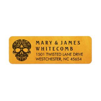 Orange & Black Skull Return Address Label