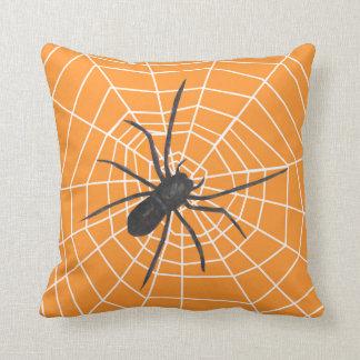 Orange Black Spider Halloween Pillow